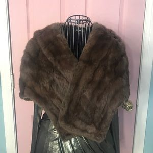 Vintage Fur Shawl  Cape with Collar and Pockets